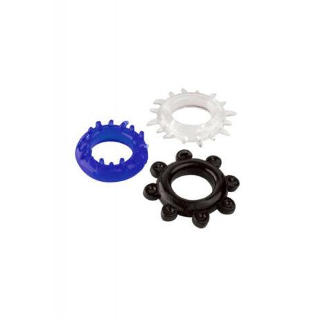 A-TOYS Pénisz gyűrű szett, 3 db.,fekete,kék,fehér