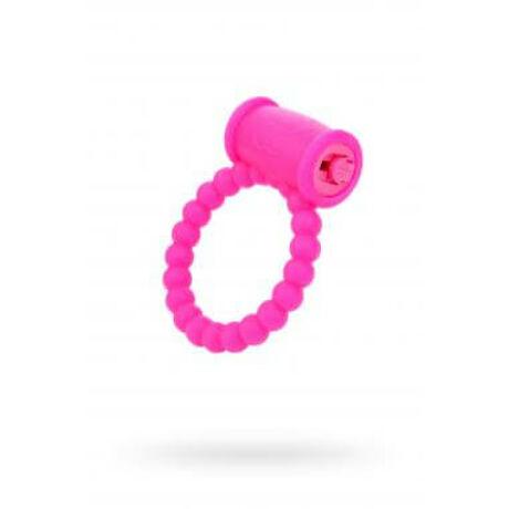 A-TOYS Vibrációs pénisz gyűrű, szilikon, rószaszín